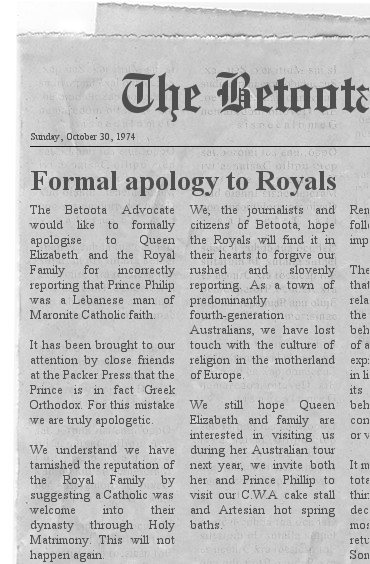 Betoota Flashback – The Advocate offends Royal Family