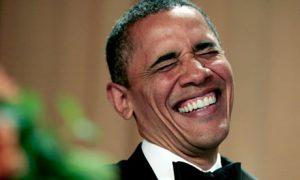 Barack Obama laughs at comedian Jimmy Kimmel