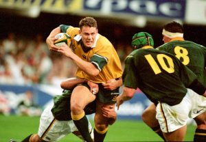 Betoota-born and former Wallaby Jason Little in his prime in 1994. His lack of respect for defense lines made him a household name in rugby fraternities around the world.