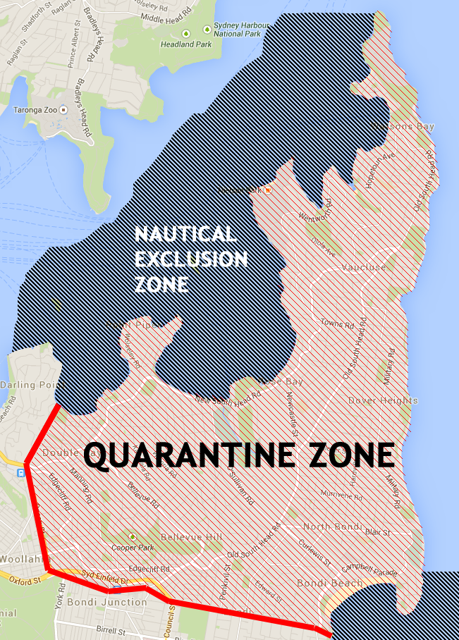 The extent of the quarantine zone. Including nautical boundaries.