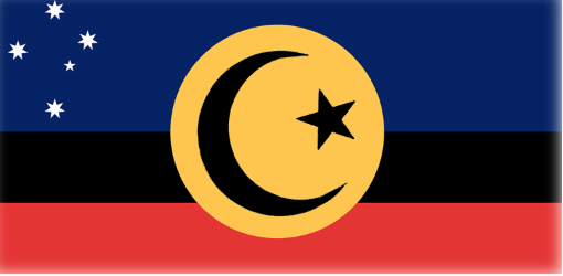 The flag proposed by both Indigenous and Islamic groups, as well as Peter Fitzsimons.