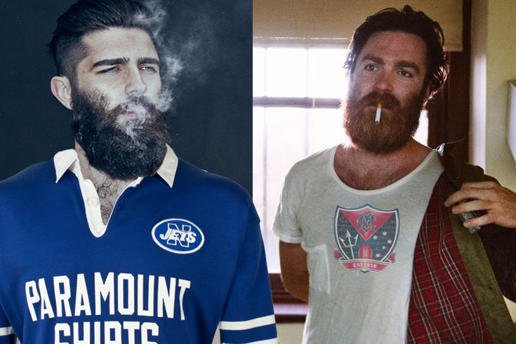 Newtown resident Banjo Clementé (left) wearing his vintage Jets jersey, On the right  is hipster icon Chet Faker supporting the Melbourne Demons FC