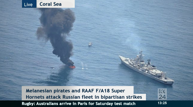 Melanesian pirates and RAAF attack Russian flotilla in Coral Sea