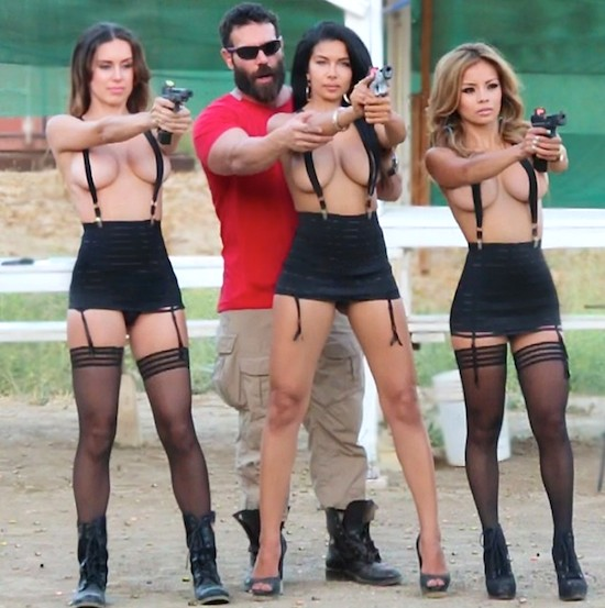 Bilzerian, notorious for his love of guns and women, poses in one of the many social media photos that made him famous.