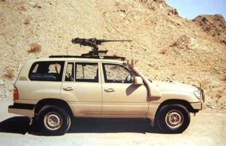 Jack Pearson's 2012 Toyota Landcruiser with it's M2 anti-material machine gun. He claims to have shot 11 cattle rustlers in 2014. PHOTO: Clancy Overell