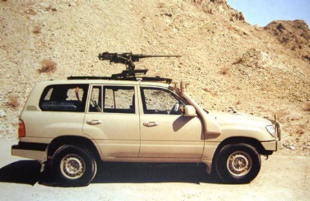 Jack Pearson's 2012 Toyota Landcruiser with it's M249 SAW light machine gun. He claims to have shot 11 cattle rustlers in 2014. PHOTO: Clancy Overell