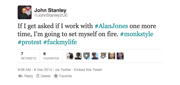 A deleted tweet from 2UE presenter John Stanley. SOURCE: Pedestrian.tv