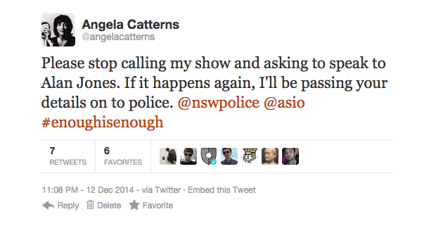 Presenter Angela Catterns has clearly had enough with people calling her show asking to speak with Alan Jones. SOURCE: pedestrian.tv