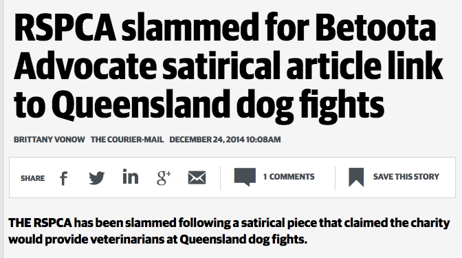 "The Betoota Advocate forced to apologise to RSPCA over ""unprovoked carve-up"""