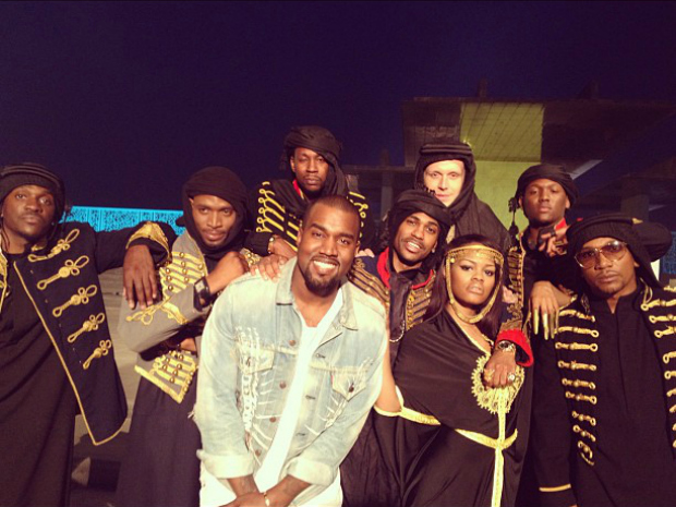 Kanye West, a.k.a 'Yeezus' poses with his G.O.O.D Music label artists