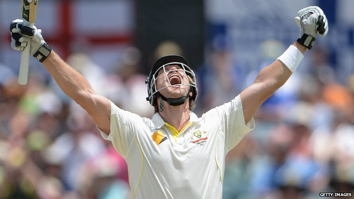 Shane Watson lets out a euphoric cheer at the 100 mark, one of the four test centuries in his entire career.