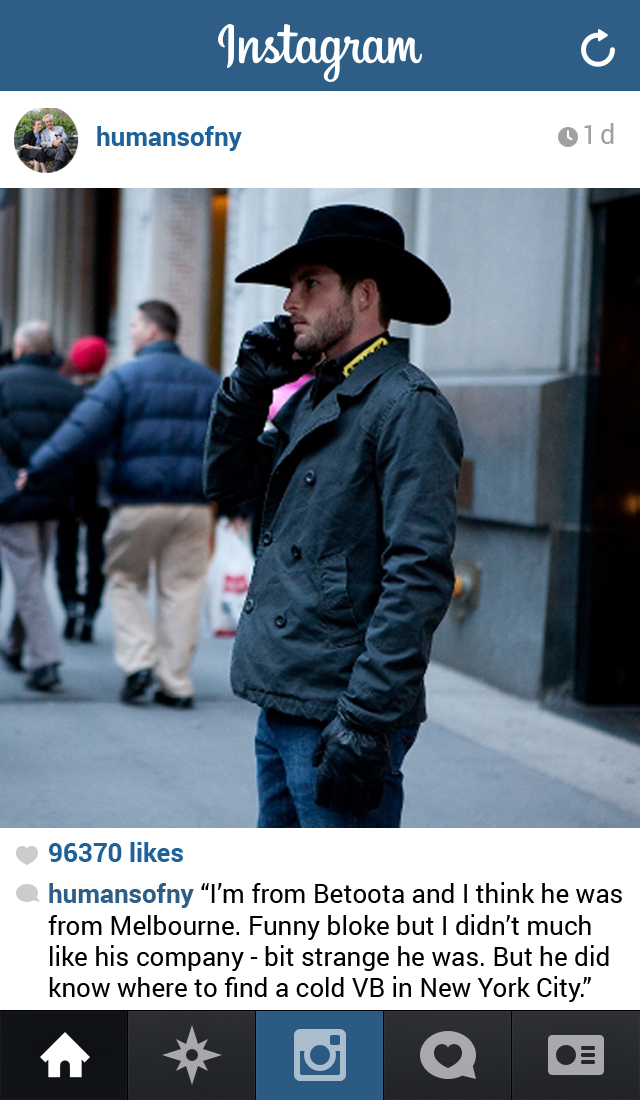Betoota cowboy Alex Whippett appeared on Humans of New York yesterday.