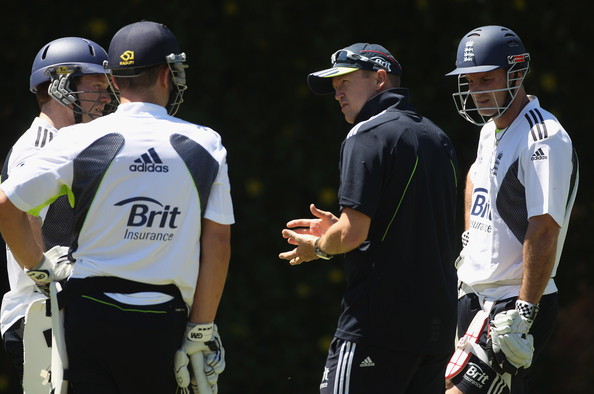 "The English side has been described as ""more like a united nations team"" - Pictured: Eoin Morgan (Irish), coach Andy flower (Zimbabwe) and former captain Andrew Strauss (South Africa)"