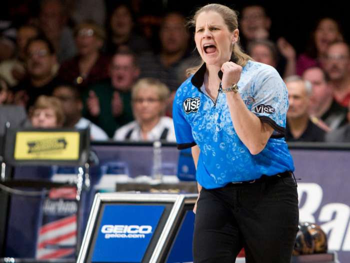 Ten pin bowling revolutionary, Kelly Kulick reacts during the PBA Tournament of Champions on Sunday. Kulick made history as the first woman to win a PBA Tour title with a 265-195