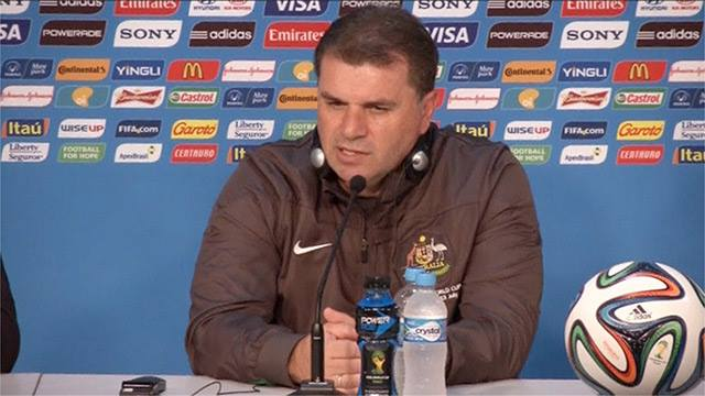 """A nervous Postecoglou at this mornings press conference moments before he """"lost the plot"""""""