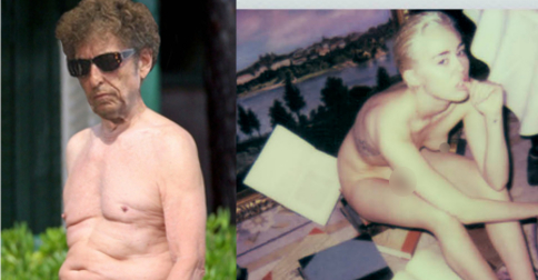 "Miley Cyrus, Bob Dylan ""leak"" nudes to coincide with upcoming album releases"