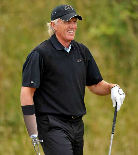 Australian golfer Greg Norman returns to golf with a prostetic arm after a chainsaw accident. PHOTO: AP/LOS ANGELES TIMES