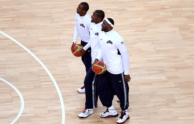 Chris Paul, LeBron James and Kevin Durant - during a 3-on-3 exhibiton match at the FIBA World Cup