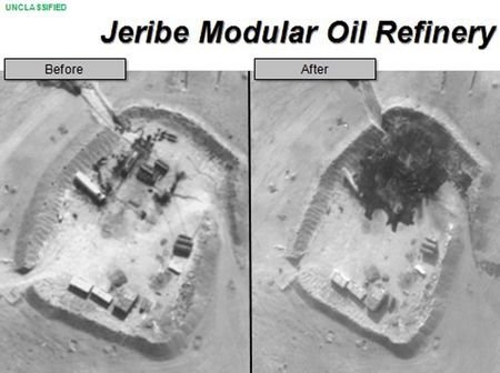 A declassified image shows that the US has effectively removed the capability for ISIS to refine oil. SOURCE: US Department of Defence.