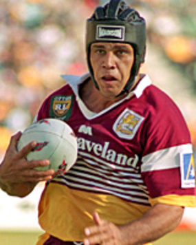 """The Black Pearl"" Steve Renouf playing for the almighty Brisbane Broncos. An era of football that has broken down many of Mr. Starkey's prejudices."