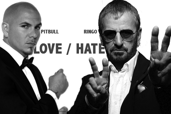 The leaked album cover for Pitbull and Ringo Starr's new album - Love / Hate