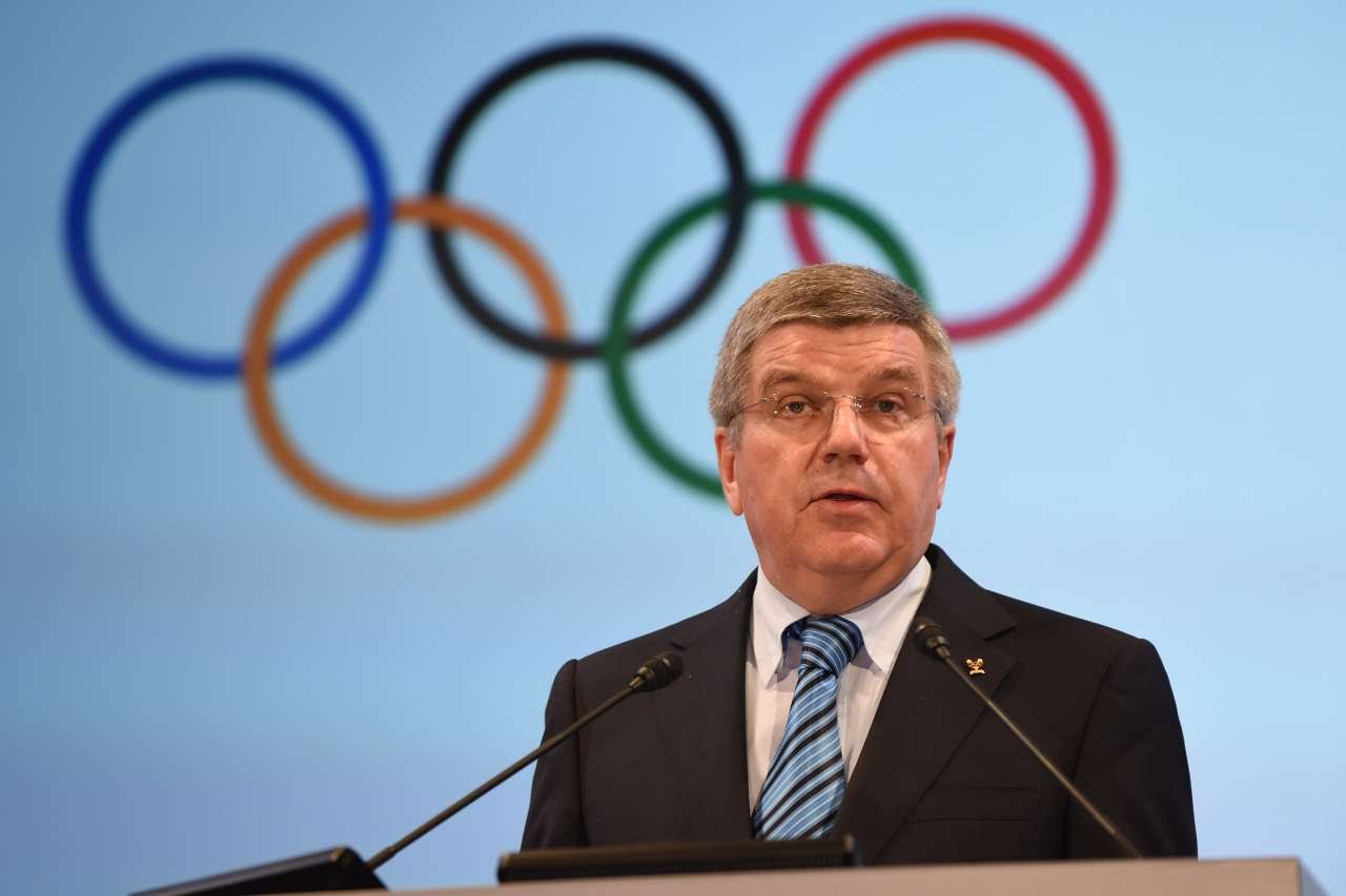 IOC Presdent, Thomas Bach fronts international news camera's at a press conference in Switzerland yesterday.