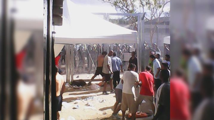 An image supplied by the Refugee Action Collective purports to show unrest at Manus Island's Delta compound. (Refugee Action Collective)