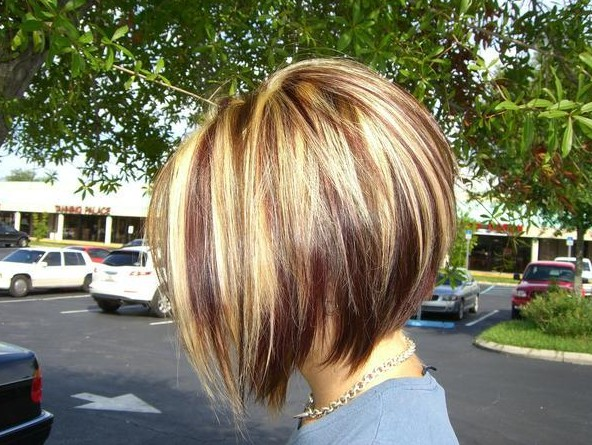 Red-Blonde-and-Brown-Highlights-with-an-Inverted-Bob
