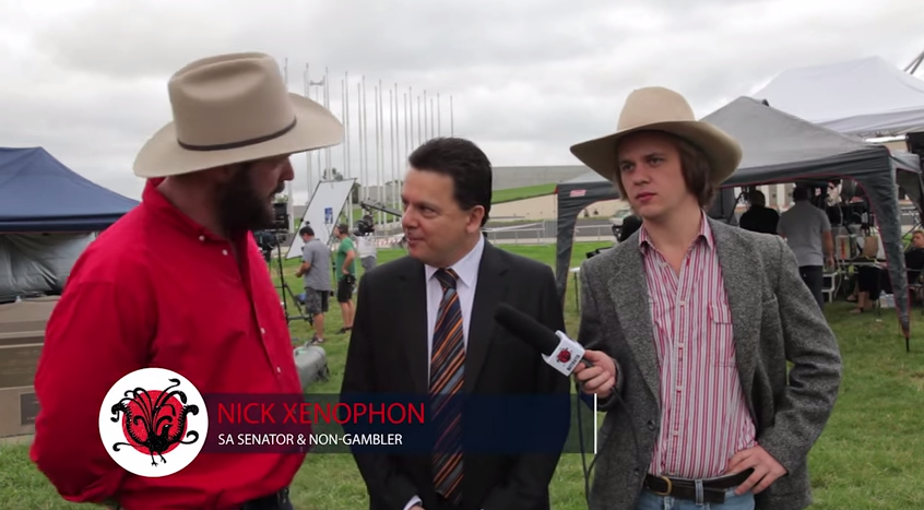 "Independent South Australian Senator and self confessed ""fun-sponge"", Nick Xenophon speaks to the Betoota Advocate about the ""Catastrophic"" pokie culture. Canberra, February, 2015."