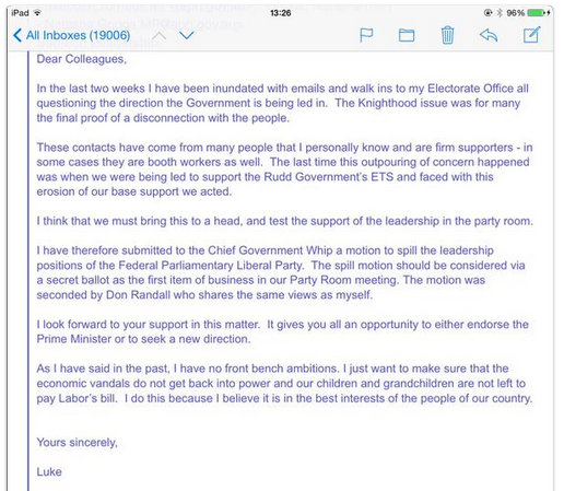 An internal email from Luke Simpkins MP explaining why he filed the spill motion.  SOURCE: WikiLeaks