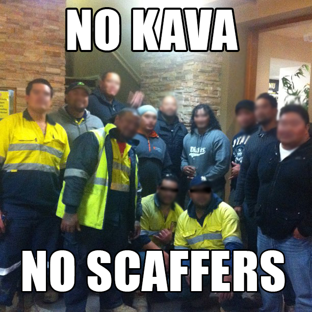 "The militant group ""KIWI SCAFFERS AGAINST KAVA BANS"" at an official meeting in Daisy Hill last night"