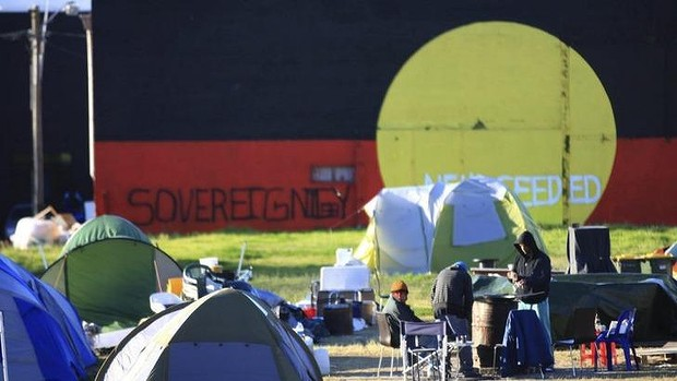 With the original housing bulldozed in 2004, many protestors have set up a drug and alcohol free-zone in what used to be a bustling community of young Aboriginal families