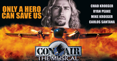 The drafted flyer for the Davenport production of Con-Air The Musical