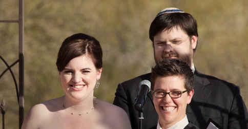 Patrice D'Andrsun in happier times during her tradtional Jewish gay wedding in California earlier this year. PHOTO: AAP