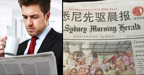 "Australians panic over new ""Chinese headlines"" on popular newspaper"