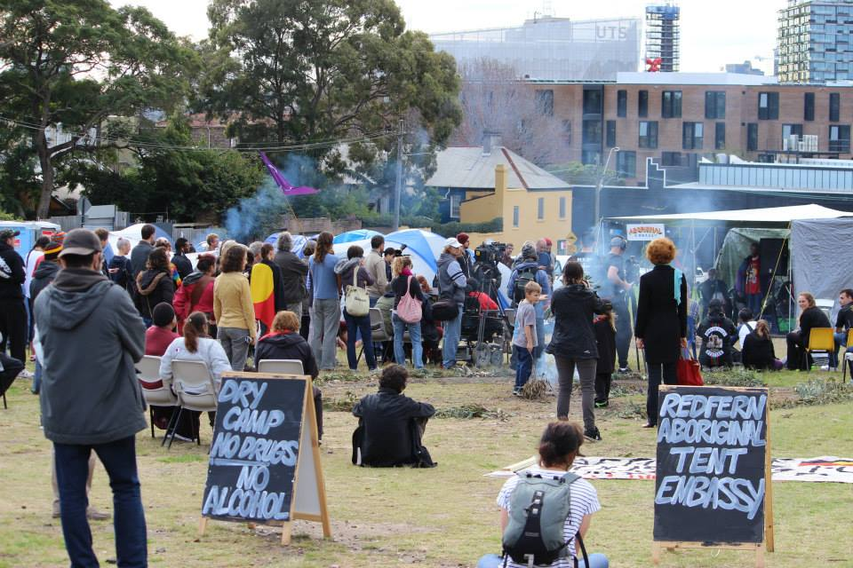 The non-violent Aboriginal protestors on The Block. Campaigning for once-promised low-cost Indigenous housing.