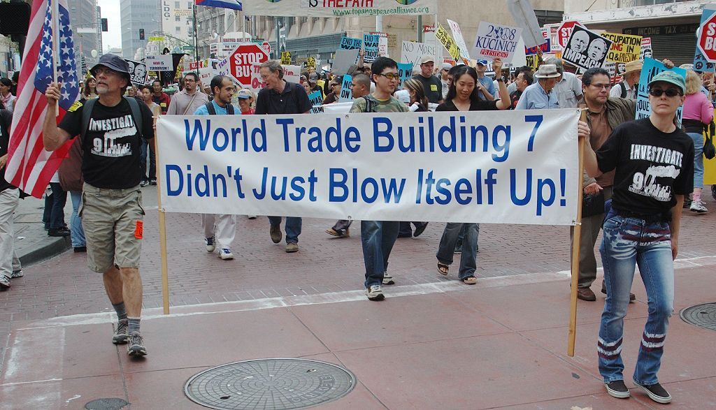 Truthers march in NYC to protest against the mainstream account of 9/11