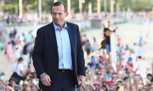Abbott, looking extremely rich again, in Manly