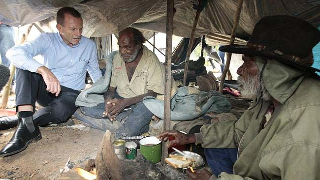 Tony Abbott asking Aboriginal men why the hell they would want to live in a tent. Hoppy's Camp in Alice Springs.