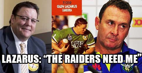 Lazarus resigns from Palmer United to join Canberra Raiders coaching staff