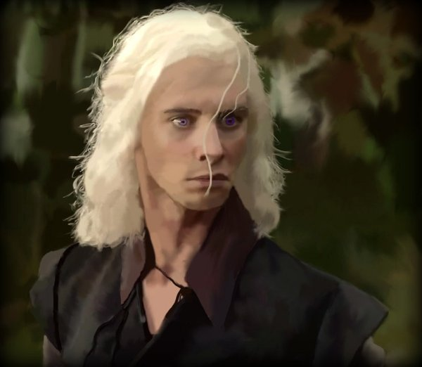 Viserys Targaryen a villain from season one. Many believe this characters likeness to Assange has triggered his vendetta against the show