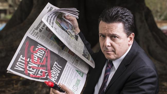 """Vocal campaigner against """"fun"""" - Senator Nick Xenophon has condemned the illegal fight club in Betoota"""