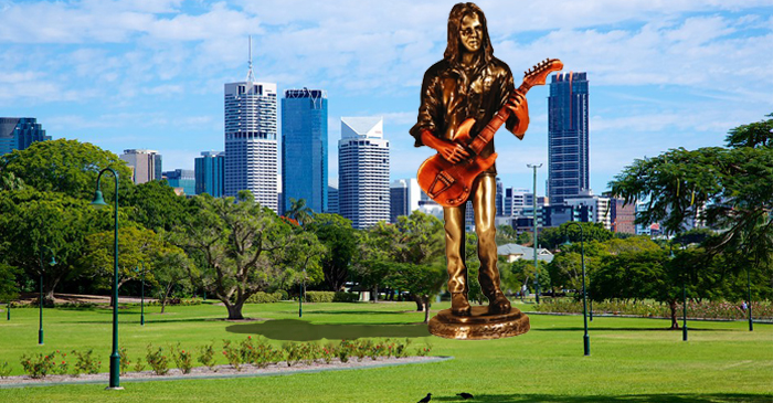 Eighteen Metre Statue Of Bernard Fanning Erected In Brisbane's New Farm Park
