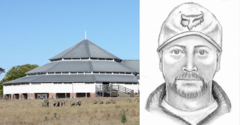 "(Left): Longreach Mosque and community centre. (Right): A police sketch of the man ""of Christian appearance"" wanted over the Longreach mosque attack. SOURCE: QLD Police"
