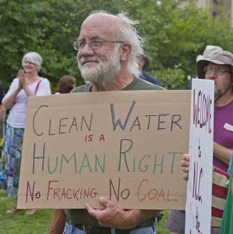 Prominent CSG activist, Lyall Peris, at an anti-CSG demonstration in Darwin last year