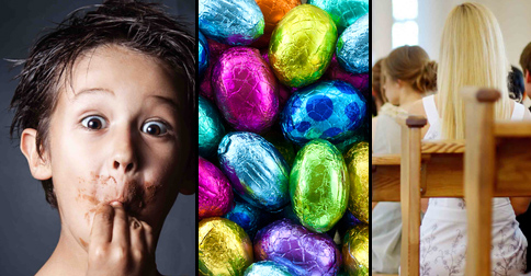 Kid's unmoderated consumption of chocolate makes up for having to go to church
