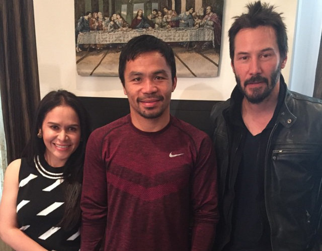 "Manny Pacquiao poses with his wife and close friend, Keanu Reeves. The instagram caption reads:  ""Thank you Keanu Reeves for visiting me and my wife Jinkee. God Bless you always,"""