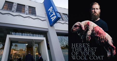 "LEFT: PETA's ""Bob Barker Building"" named after the iconic gameshow host, RIGHT: the controversial new PETA campaign"