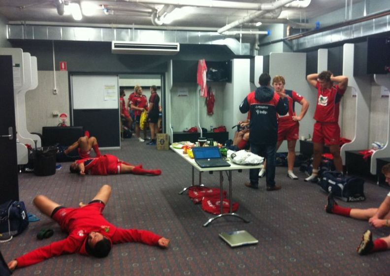 The Queensland Reds get psyched-up by listening to Powderfinger. PHOTO: Brisbane Times