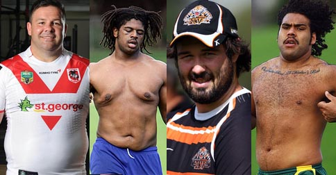 George Rose III, Jamal Idris, Aaron Woods, Sam Thaiday - all current NRL players and also top ten entrants for Australia's sexiest dadbods
